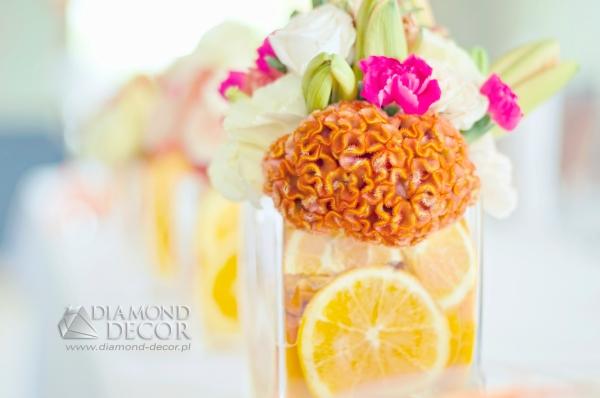 pomarańcze dekoracja ślubna