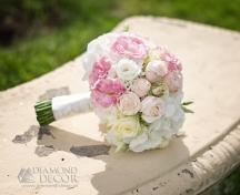 bukiet ślubny - pudrowy róż